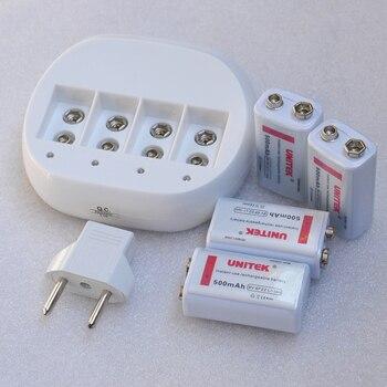 4 Pz 9 V 6F22 Batteria Ricaricabile 500 MAh Agli Ioni Di Litio Cellulare + Caricabatteria Per Microfono Senza Fili Multimetro Allarme Fumo RC Elicottero