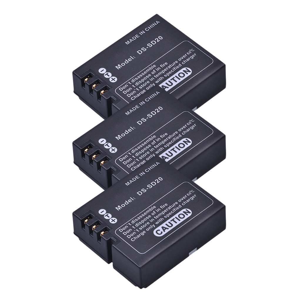 3Pcs DS-SD20 SD20 DS SD20 Batteries For AEE MagiCAM SD18 SD19 SD20 SD21 SD22 SD23 SD30 Rollei 3S Action Sports Cameras