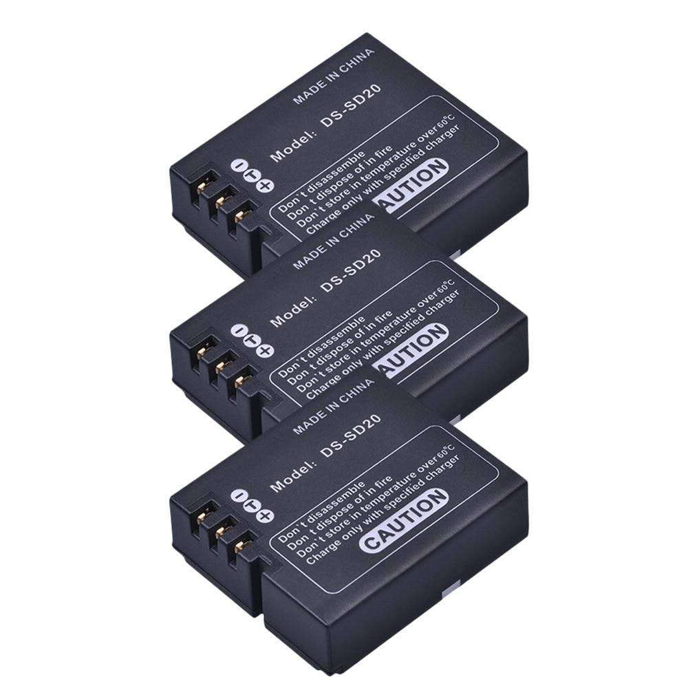 3Pcs DS SD20 SD20 DS SD20 Batteries for AEE MagiCAM SD18 SD19 SD20 SD21 SD22 SD23