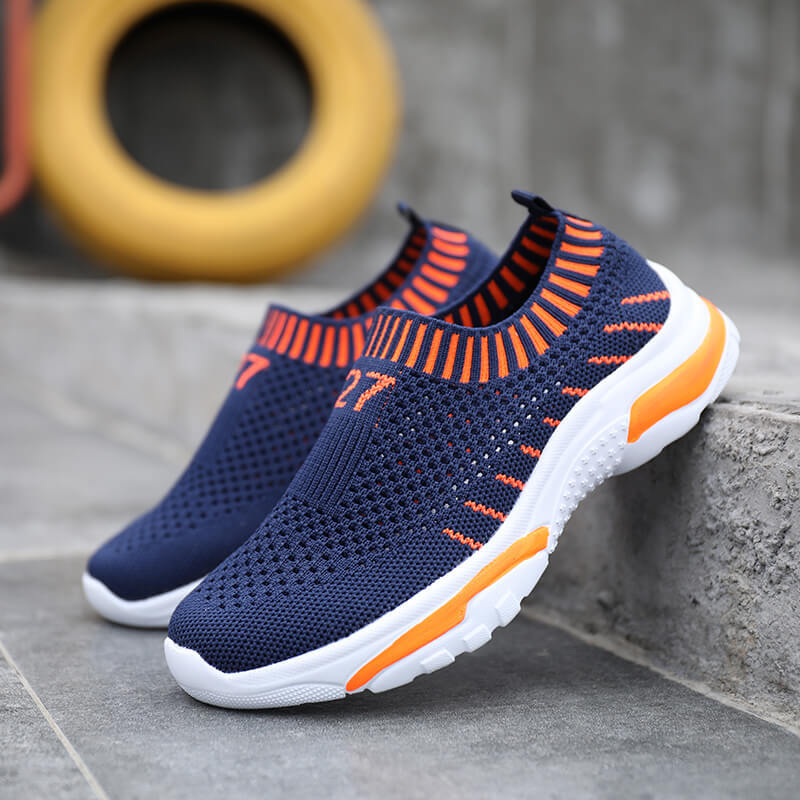 Children Sneakers Boys Running Shoes Spring Autumn Breathable Knit Mesh Flat Sports Shoes Fashion Outdoor Casual Shoes For Kids
