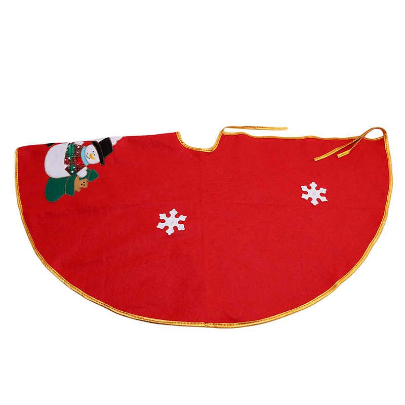 Милая Красная Нетканая Рождественская елка юбка фартуки край Санта и снеговик украшение для дома Рождественская елка юбка новый год