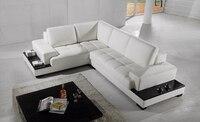 Darmowa Wysyłka Nowoczesna kanapa Komplet wykonany z prawdziwej skóry sofa ustawić meble pokojowe Kanapa Narożna z LED światła LC9111