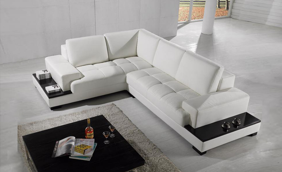free shipping modern sofa set made with genuine leather corner sofa with led light sofa set - Modern Sofas