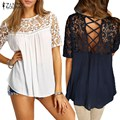 Lace Crochet Splice Shirts 2017 ZANZEA Women Blouses O Neck Short Sleeve Hollow Out Casual Loose Blusas Sexy Tops Plus Size