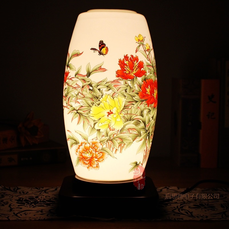 E27 New style Chinese Style table lamp wooden base Ceramics Table Lamp For Living Room Bedroom
