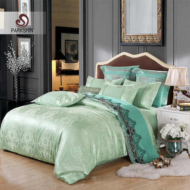 ParkShin Tibutle Silk Bedding Set Luxury Tencel Silk Duvet Cover Set Light  Green Bed Linen 4pcs