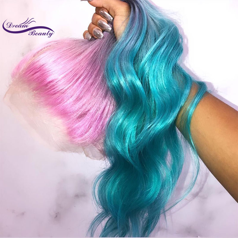 Glueless omber pink Green Wig 150% Density full Lace Front Human Hair Wigs Remy Hair Brazilian Body Wave Wig With Baby Hair
