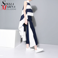 2016 Female Clothes Summer Autumn Women Dress Sleeveless Stand Neck Blue Striped Loose Evening Party Club