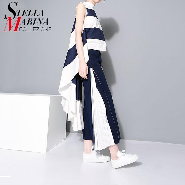 2016 European Women Sexy Long Tee Top Very Long Back Sleeveless Blue Striped Boho Hippie Casual