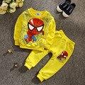Primavera outono crianças manga longa roupas menino Top + calça conjunto de 2 peças meninos homem aranha roupas terno