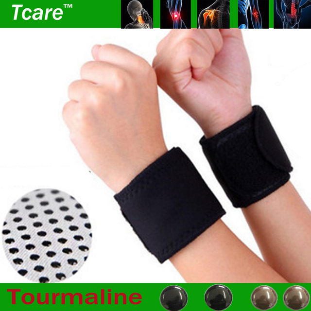 Tcare 1Pair Tourmaline Self Heating Magnetic Therapy Wrist Brace Protection Belt Spontaneous Heating Massager Health Care