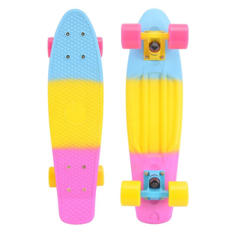 74l-68 Бесплатная доставка три цвета радуги рыбы банан пластина peny Новый Скейтбординг ролик waveboard скейтборд ...