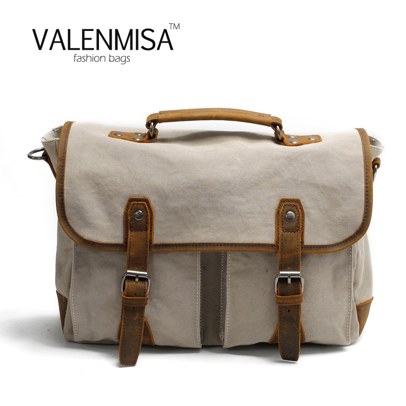 VALENMISA Canvas Bag Designer Handbags High Quality Crossbody Bag For Women Men Laptop Bag Briefcase Computer Bags Crazy Horse