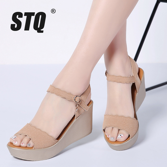 ffbd8fab85f STQ 2019 women sandals PU leather wedges thick heel flat sandals gladiator  sandals ladies original platform sandals 1802