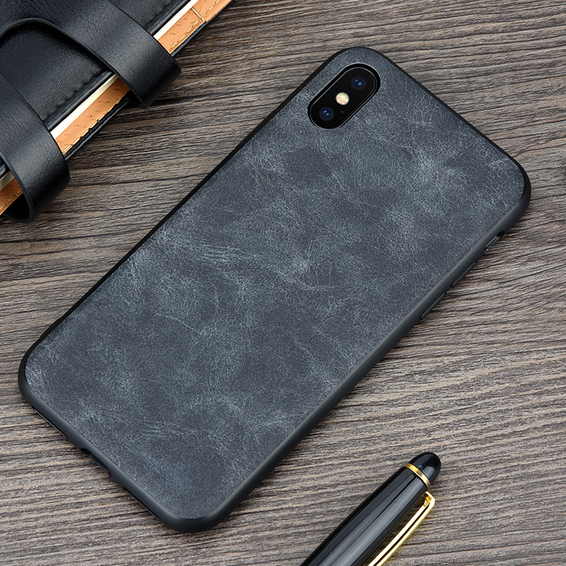 KEYSION Phone Case for Apple iPhone X Luxury Vintage PU Leather Case for iPhone 10 TPU silicone Soft Edge Back cover for iPhoneX