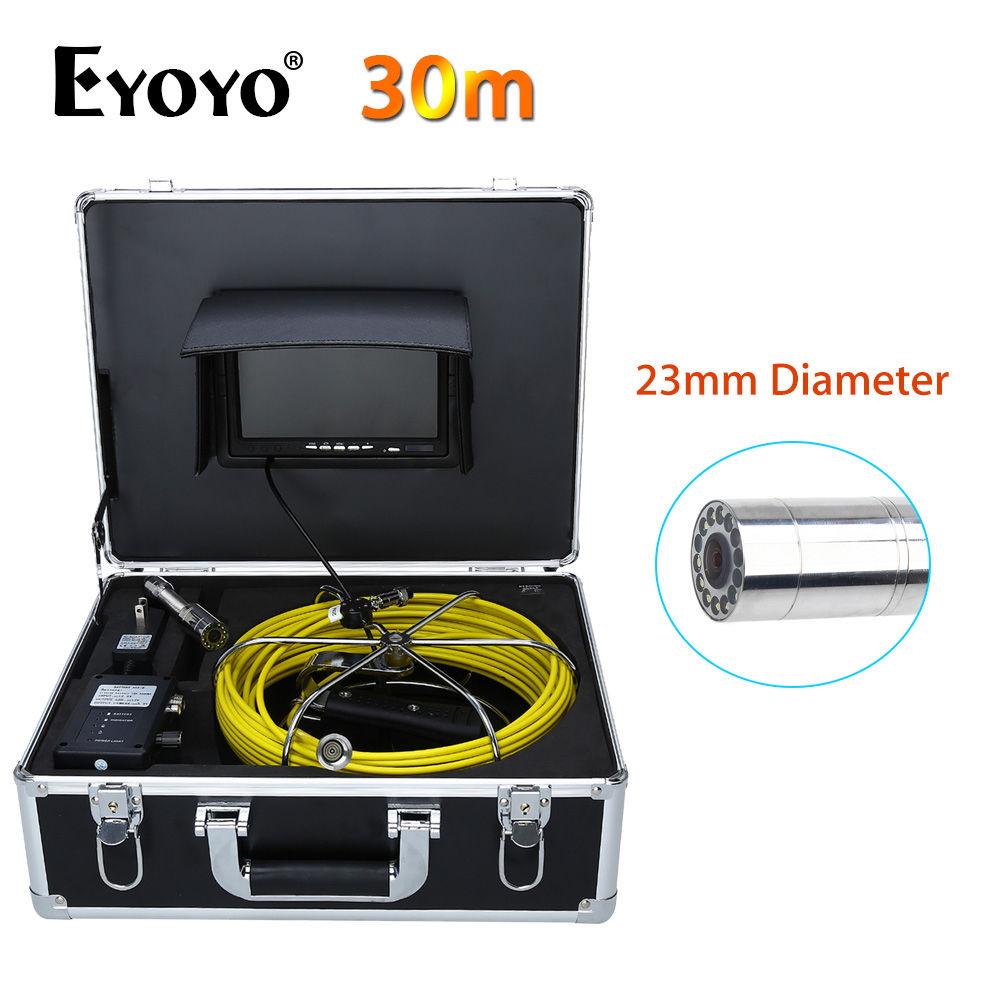 Eyoyo WP70A 7 LCD CMOS 30 M 23mm CCTV Cam 1000TVL Mur Système de Caméra D'inspection de Canalisation D'égout de Vidange D'inspection de Serpent Couleur