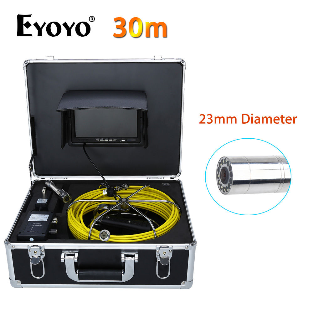Eyoyo WP70A 7 LCD CMOS 30M 23mm CCTV Cam 1000TVL Wall Drain Sewer Pipe Line Inspection Camera System Snake Inspection Color dhl free wp90 50m industrial pipeline endoscope 6 5 17 23mm snake video camera 9 lcd sewer drain pipe inspection camera system
