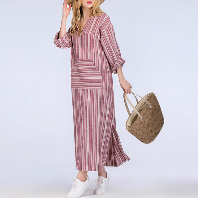 cef422ce029cf ZANZEA Fashion Summer Dress Vintage Women Long Striped Dress Casual V Neck  Long Sleeve Loose Long Maxi Dress Vestidos Plus Size
