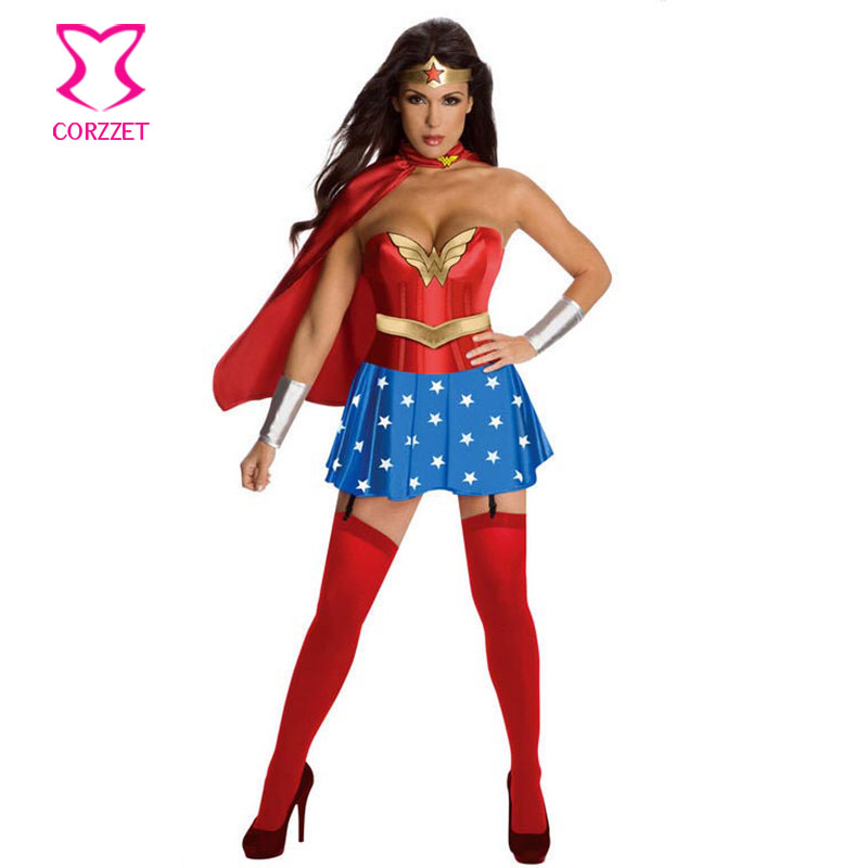 9cc70a92a1 Red Corset Top With Blue Skirt   Cloak Adult Superwoman Wonder Woman  Costume Sexy Cosplay Halloween