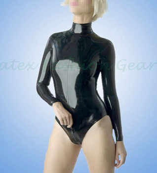 Long sleeved Sexy Black Latex swimsuit with zip at back High collar leotard Rubber bodysuits jumsuit plus size - SALE ITEM - Category 🛒 Novelty & Special Use