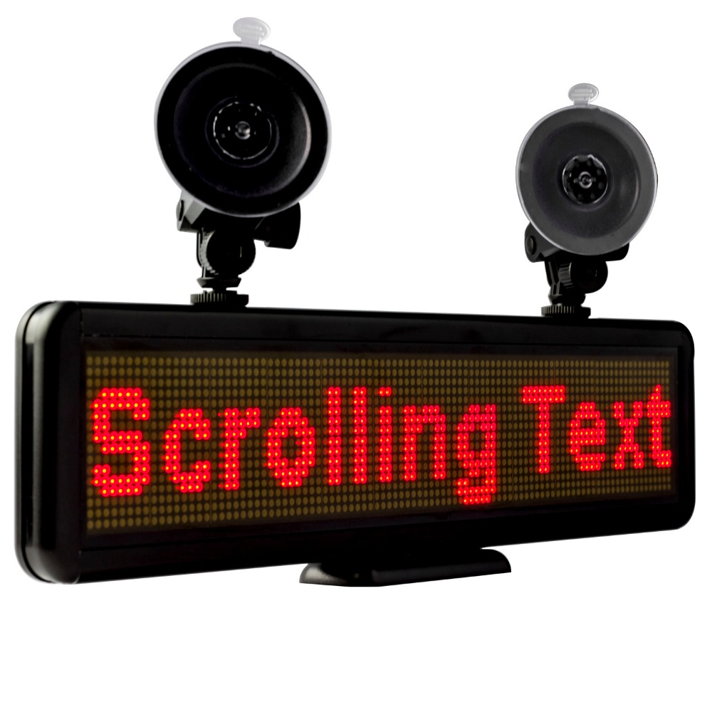 12v 16X64 Red LED Sar Sign Rear Window Display USB Input Rechargeable Programmable Message Advertising Display