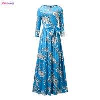 HANZANGL Women Dress New Fashion Floral Print Maxi Dress Ladies Casual Vintage Long Dresses With Belt