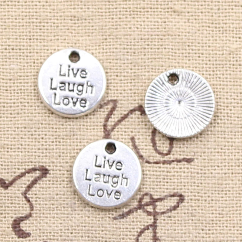 Silver Color Live Laugh Love Charm for Bracelet or Necklace Jewelry