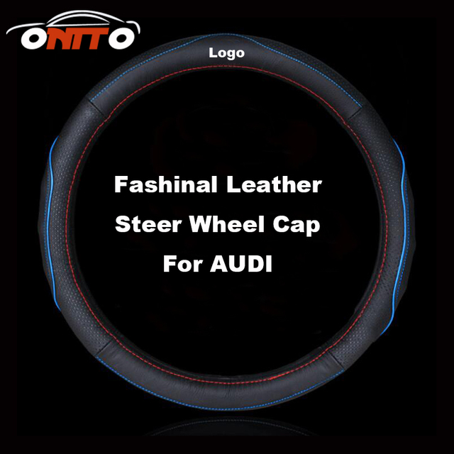 38CM Leather Car Steering Wheel Protective Cover Auto Steer Wheel Clothing Casing A1/A2/A3/A4/A5/A6/A7/A8/Q1/Q3/Q5/Q7/TT/R8/S/RS