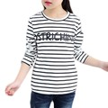 Hot Sale New Brand 2017 Baby Girls Clothes Classic White Black Striped T-shirts Robe Fille Kids Children Top Tees Infants Tshirt