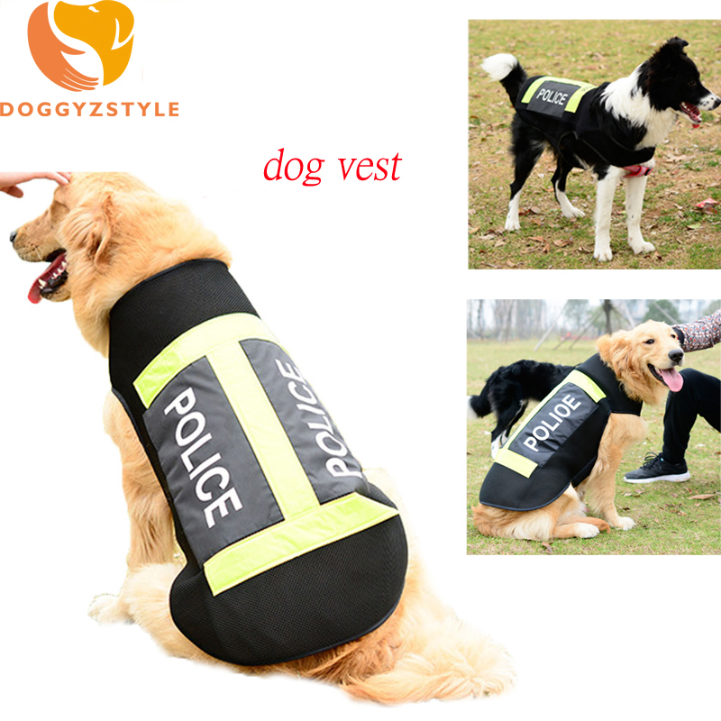 Reflective Dog Vest Summer Clothes Casual Net Pet Small Large Dogs Sweatshirt Puppy Cat Police Uniforms Costumes DOGGYZSTYLE