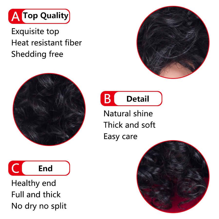 Aigemei Kinky Curly For Women 180 Density 18 Inch Natural Black 220g Synthetic Fiber Wigs in Synthetic None Lace Wigs from Hair Extensions Wigs
