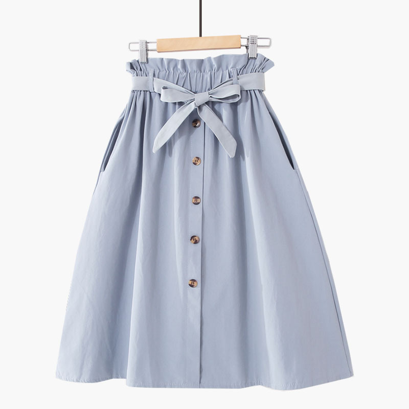 FATIKA High Waist Midi Skirts Solid Pockets A-Line Casual Ladies Bottoms Trendy Female Skirts With Sashes 19 Hot New For Women 9