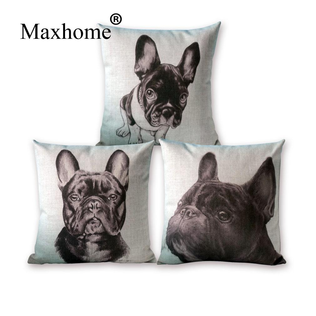 2016 New Nordic Design Hand Painted French Bulldog Pillowcase Sofa Cusions Decorative Pillow Cushions Home Decor Throw Pillow