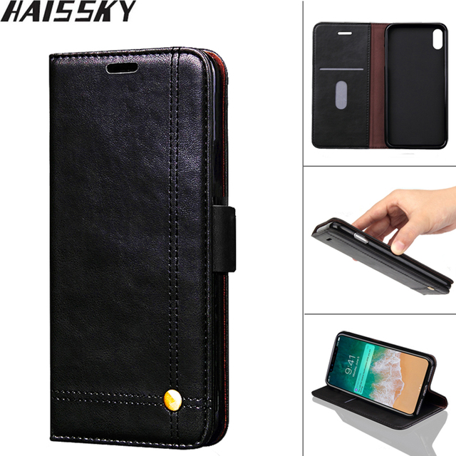 Haissky Vintage Leather Phone Case For iPhone X 8 7 7 Plus 6 6S Plus 5 5S SE Flip Case Luxury Magnetic Card Slot Wallet Cover