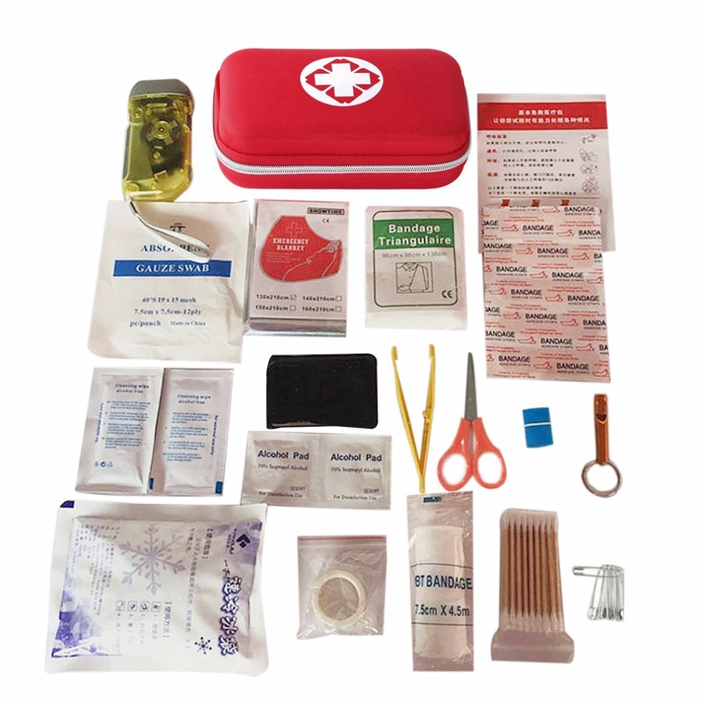 19PCS High Quality Outdoor Travel First Aid kit Car First Aid Bag Home Small Medical Box Emergency Survival Kit Size 21*13*5.5CM camouflage oxford ifak nato portable outdoor emergency first aid bag in 90 high quality emergency supplies for any circumstance