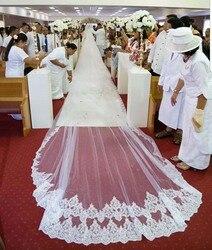 Роскошные Свадебные вуали длиной 10 метров с расческой, блестящая кружевная кромка с 2 слоями, аксессуары для свадьбы