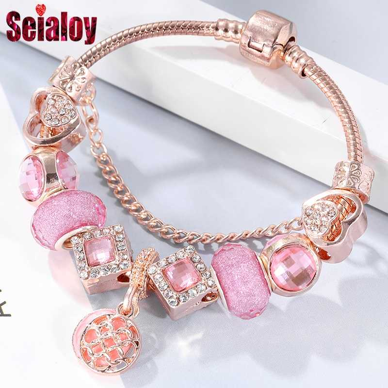 SEIALOY Rose Gold Bracelet For Women Heart Shaped Pink Crown Charm Brands Bracelets Jewelry Fit Girls Couple Friendship Gift