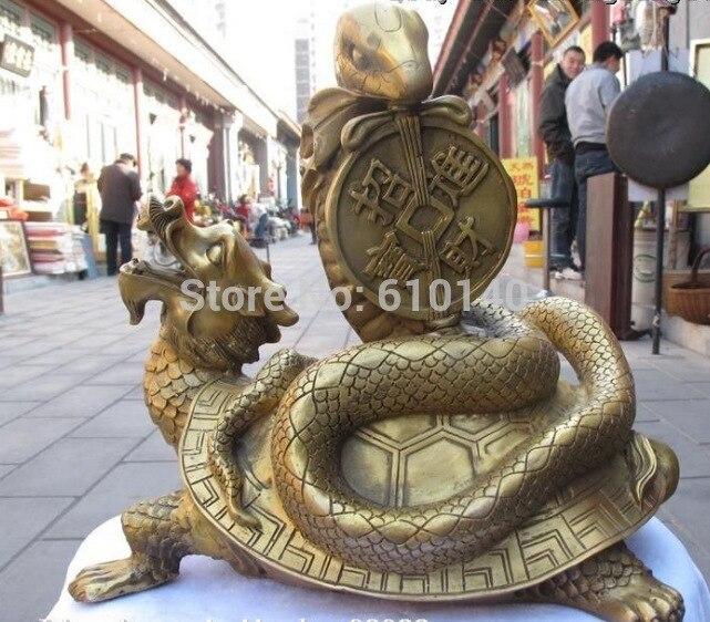 K @ 14 @ AA @ Chinois En Laiton Sculpté Dragon tortue Jouer Argent serpent Chanceux Noir Guerrier statue