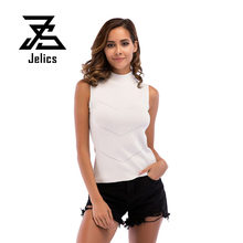 Jelics Solid T Shirt Femme Sleeveless Turtleneck Fashion Slim Women Clothes 2019 Knitted Top Tee Casual Ribbed Vest(China)