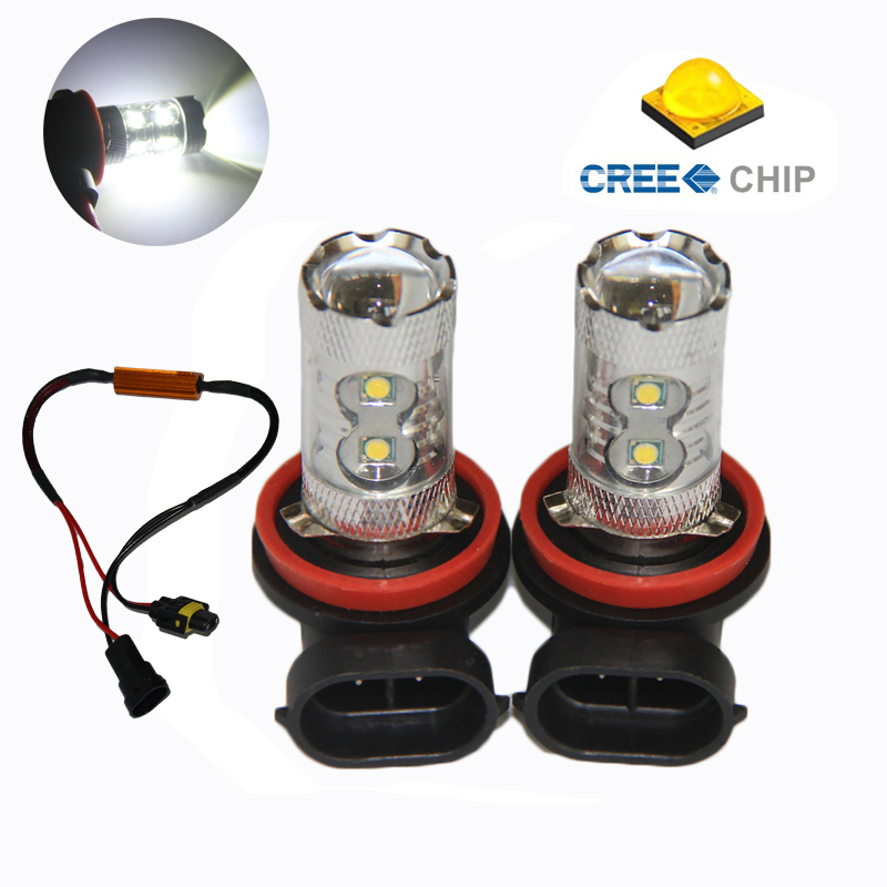 2pcs H11/ H8 50W Car LED Fog Light Fog lamps With Lens For Volkswagen VW Jetta 5 Golf 5 GTI MK5 Canbus No Error Free boaosi 1x 9006 hb4 led canbus fog lights no error for volkswagen golf 6 mk6 2009 2012 scirocco 08 on t5 transporter 2003 2016