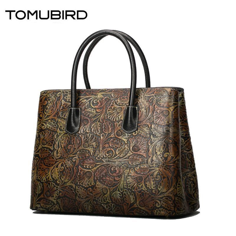 TOMUBIRD women genuine leather bag fashion luxury Retro embossed handbag women bags designer women leather handbags shoulder bag
