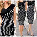 Las mujeres elegantes del verano v neck dress raya blanco y negro de costura lápiz vestidos mujer rodilla-longitud partido bodycon dress