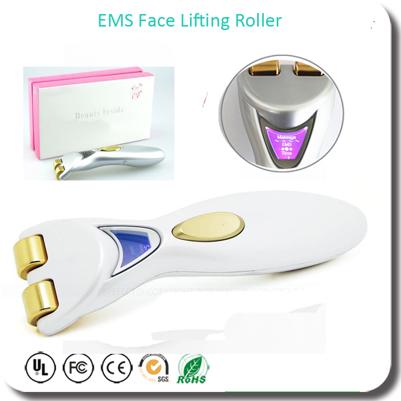 24K Gold  Plated EMS Microcurrent Face Lifting Skin Tightening Roller Massager Eenergy Beauty Bar Free Shipping