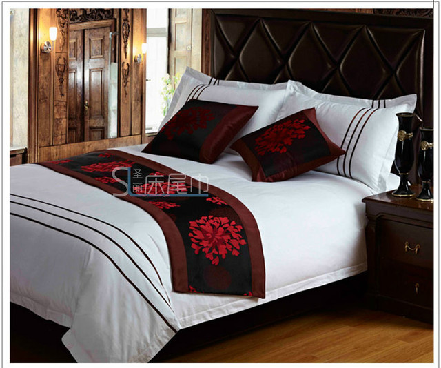 2013 new Quality flock printing fabric tailslock towel bed runner pad flag free shipping