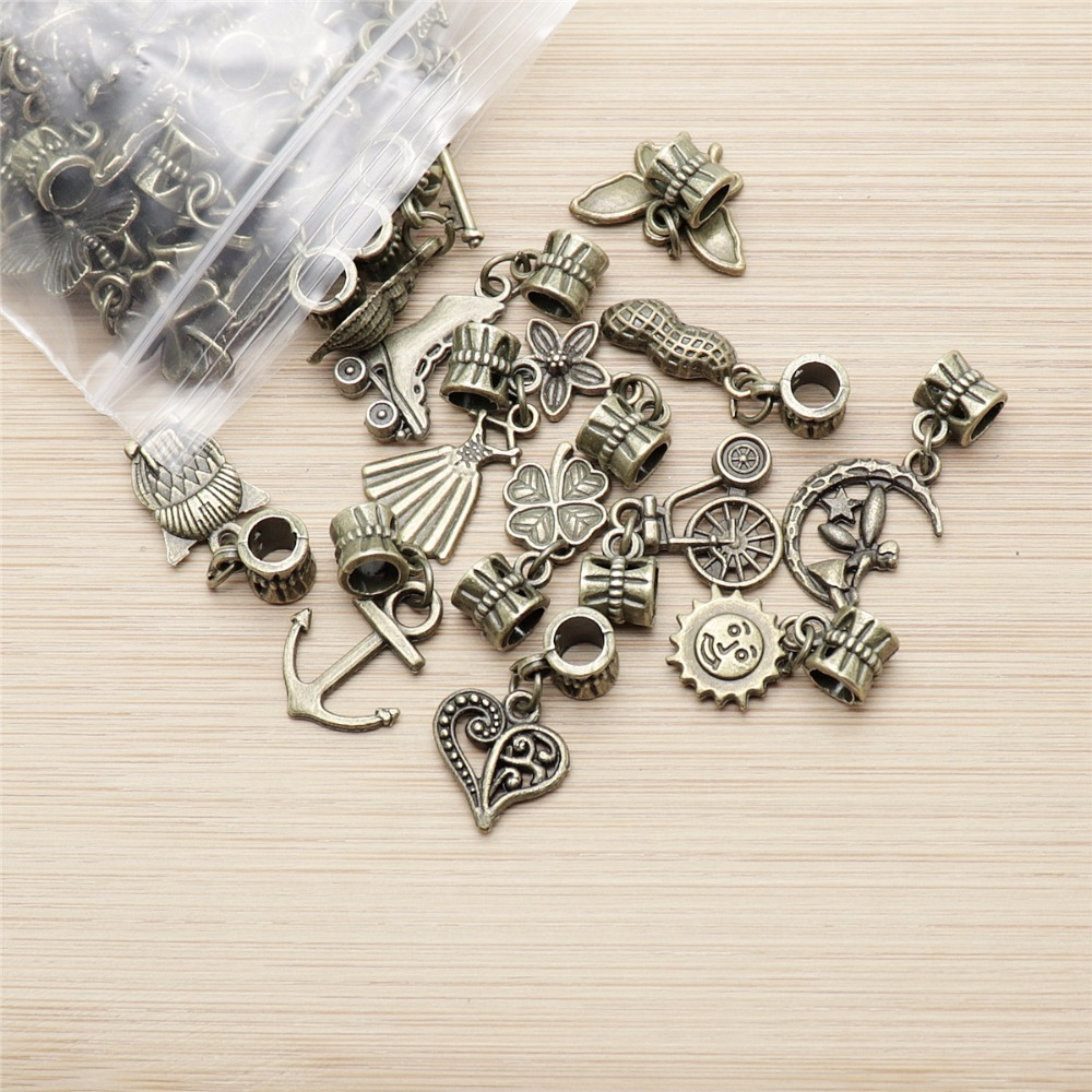 Jewelry & Watches Vintage 25pcs Mixed Bronze Tree Leaf Pendant Beaded Jewelry Finding Charm