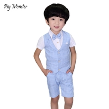 hot deal buy brand 2pcs vest+shorts kids boys summer clothing sets gentleman children wedding party wear plaid formal suits dress f113