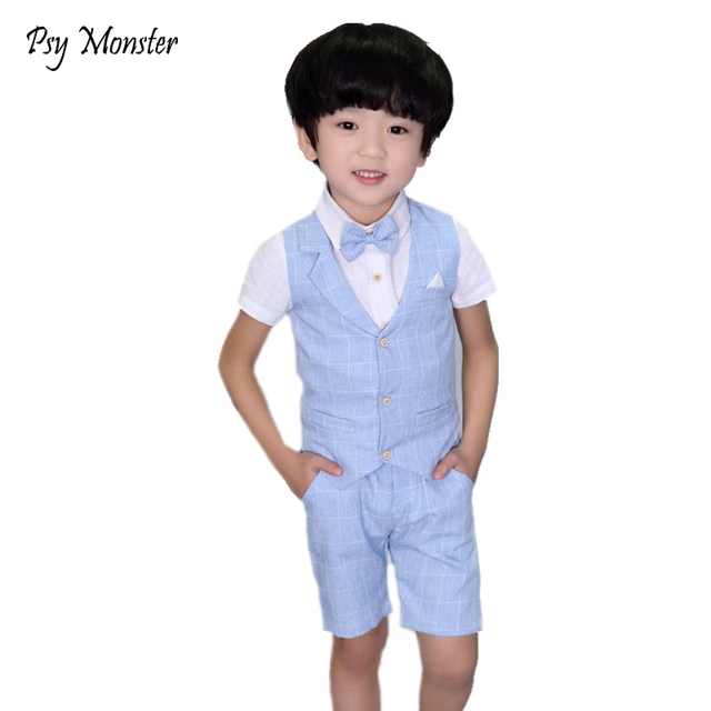 6ef0b70080882 US $7.53 30% OFF|Brand 2PCS Vest+Shorts Kids Boys Summer Clothing Sets  Gentleman Children Wedding formal toddler dresses Party Wear Formal  Suits-in ...