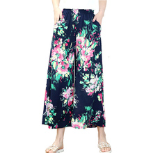 FANMUER 2019 New arrival summer style women pants print Elastic Waist trousers women Elegant Autumn High Waist  palazzo pants