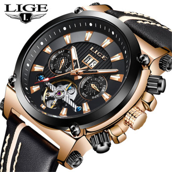 LIGE Men's Watches New Top Brand Automatic Mechanical Tourbillon Sport Clock Leather Casual Fashion Wristwatch Relogio Masculino