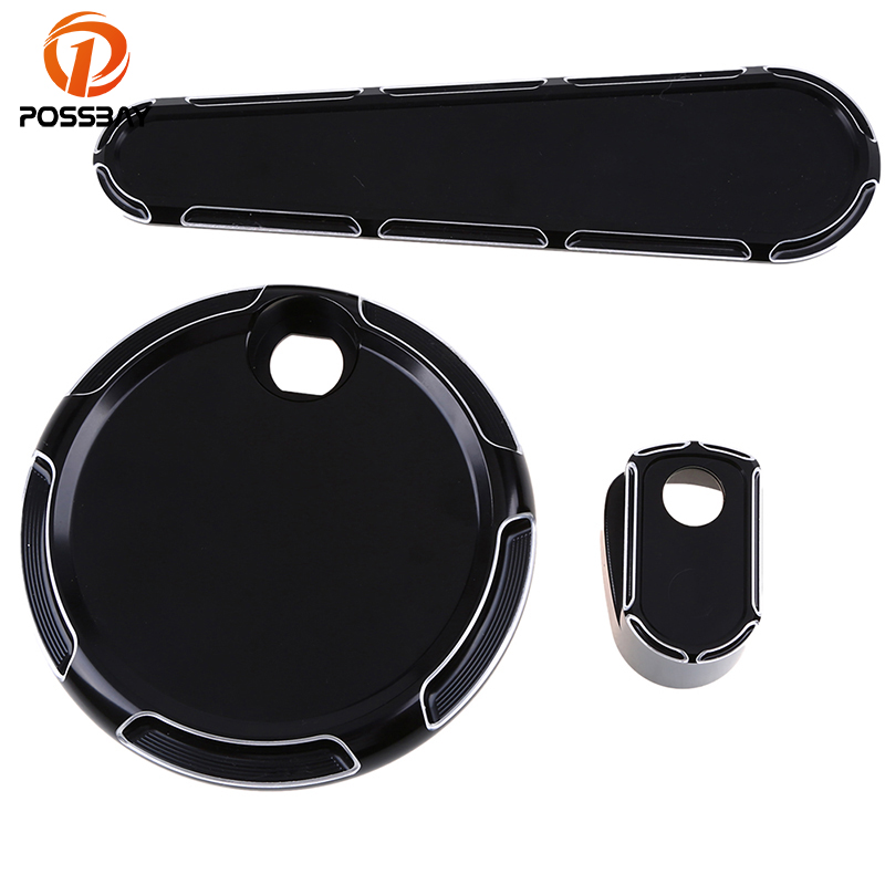 POSSBAY 1Set CNC Motorcycle Fuel Door Ignition Switch Dash Insert Cover Cap Bike for Harley Street Glide 2014 2015 2016 2017 rsd motorcycle 5 hole beveled derby cover aluminum for harley touring flh t 2016 2017 for flhtcul and flhtkl 2015 2016 2017